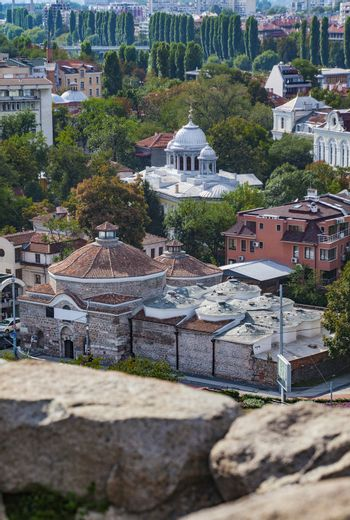 A vertical view of beautiful town Plovdiv, Bulgaria, some 135 km from Sofia.