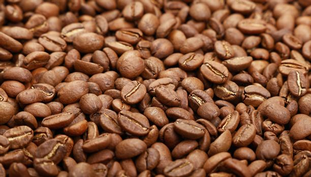 Roasted Arabica coffee beans background low angle