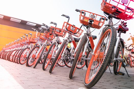 A parking lot of bicycle for sightseeing traveler