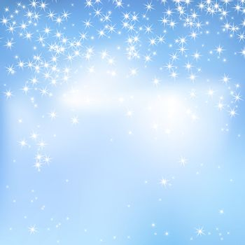 Blue sky abstract background with clouds and stars. Magical New Year, Christmas event style background