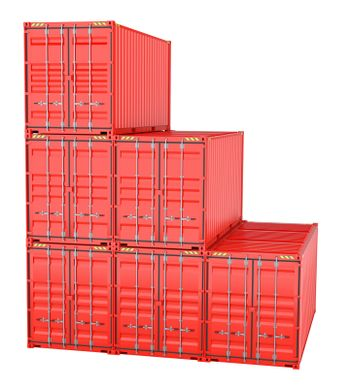 Pile of red freight containers, isolated