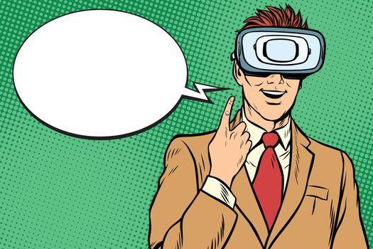 Businessman in VR glasses, the idea