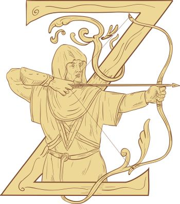 Medieval Archar Aiming Bow and Arrow Letter Z Drawing