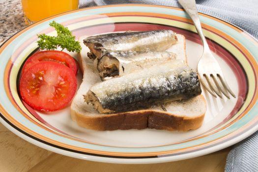 sardines in oil on a slice of toast bread