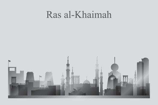 Ras al-Khaimah city skyline silhouette in grayscale