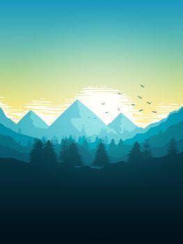 2d illustration of a beautiful mountain landscape