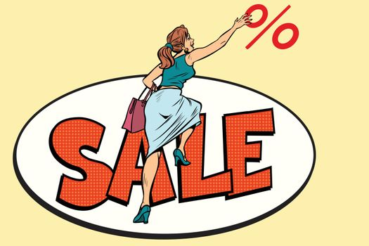 Woman customer, sales and discounts