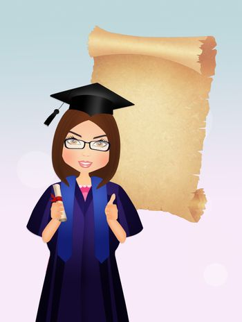 girl graduate with parchment