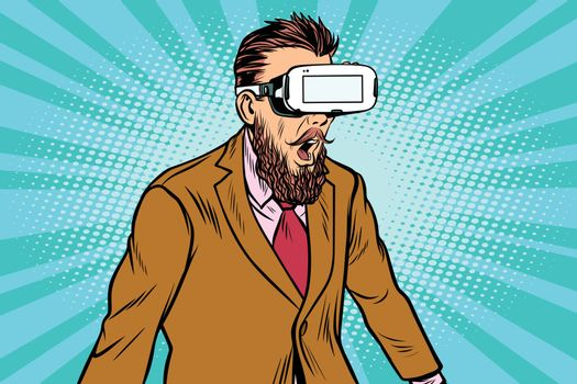 Shocked hipsters in VR glasses