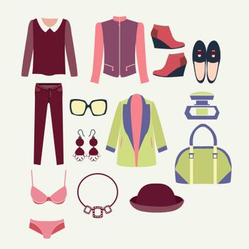 Vector fashion clothes and accessories for women for design fashion look - Illustration