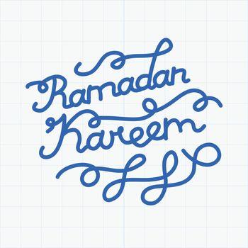 Handwritten congratulation on Ramadan Kareem. Vector illustration