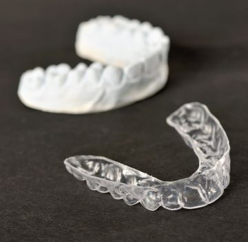 Silicone dental tray and mold isolated