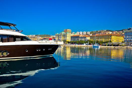 City of Rijeka yachting waterfront view,