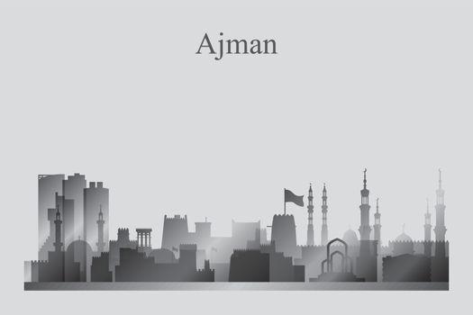 Ajman city skyline silhouette in grayscale