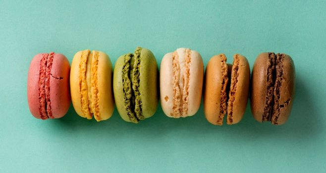 Macarons in a row