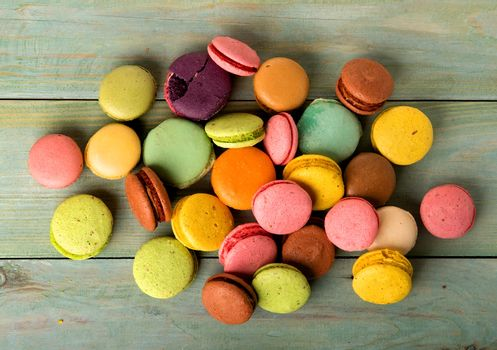 Macarons on table