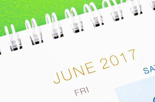 June 2017 calendar page.