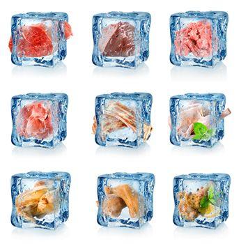 Set of frozen meat