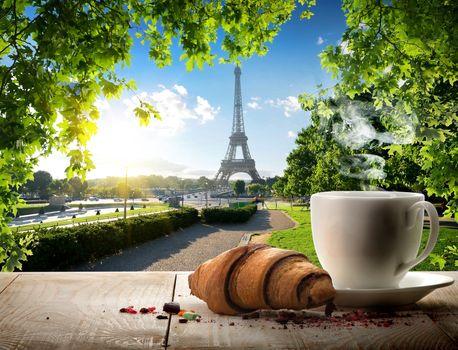 Traditional parisian breakfast