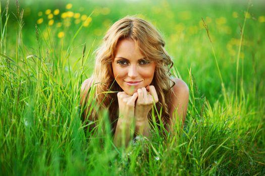 blonde on grass