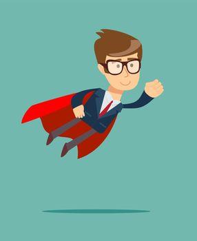 Super Businessman in a cloak of Super man.
