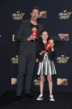 Hugh Jackman, Dafne Keen at the 2017 MTV Movie & TV Awards, Press Room, Shrine Auditorium, Los Angeles, CA 05-07-17/ImageCollect
