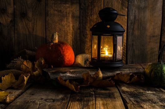Halloween pumpkin moody picture with lantern, place for your text, advertising, scary picture