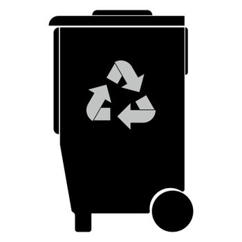 Refuse bin with arrows utilization icon.