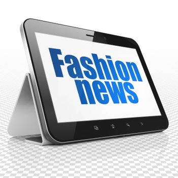 News concept: Tablet Computer with blue text Fashion News on display, 3D rendering