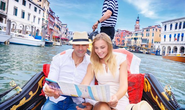 Loving couple traveling to Venice