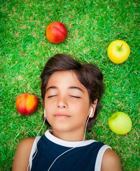 Teen boy listen music