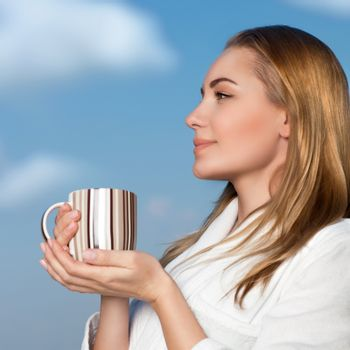 Nice female with cup of tea