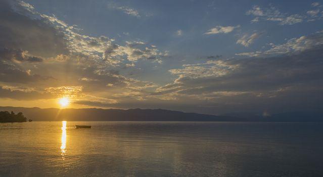 Amazing sunset on the lake