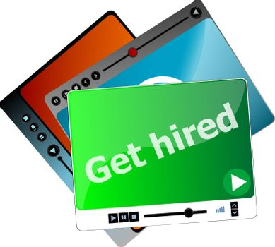 Get hired. Video media player set for web, minimalistic design