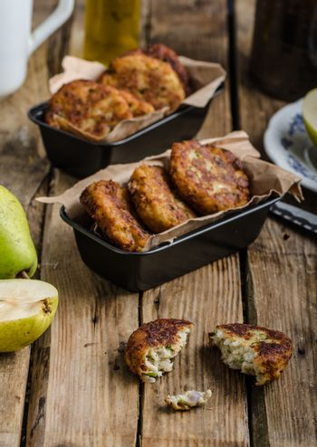 Delicate pear and blue cheese pancakes