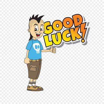 male cartoon character good luck theme