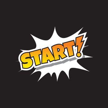 Start - Comic Speech Bubble Cartoon Game Assets