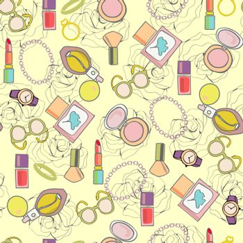 Vector background of MakeUp, beauty healthy cosmetic and  product, fashion accessories illustration
