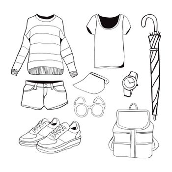 A set of summer outfit collection. Vector of hand drawn fashion clothes and accessories illustration