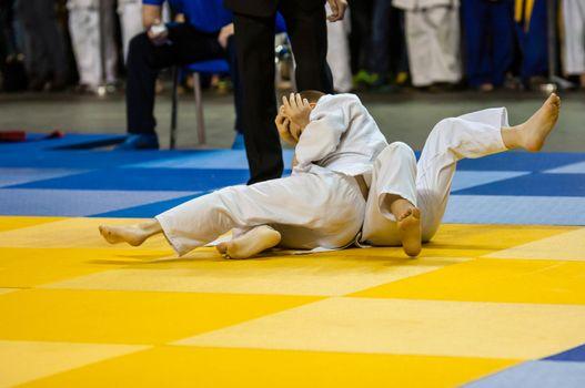 Orenburg, Russia - 16 April 2016: Boys compete in Judo on the urban tournament in memory of L. Taikeheva