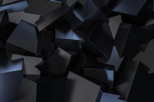 Black Cube Box scattering on floor 3d rendering