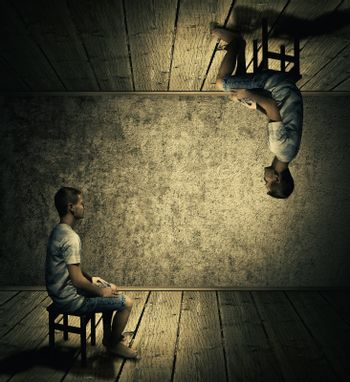 Creative idea concept with a man sitting in a dark room above and below looking at each others twin. Conceptual parallel world, alternate reality, fiction theory.