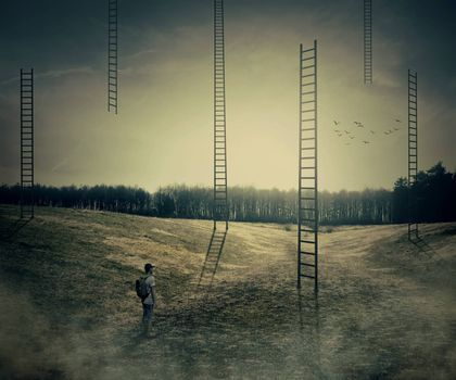 Young boy on a mystic meadow with a lot of ladders going high in the sky, thinking which to climb. Different life opportunities, best choice and career development concept.