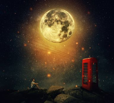 Imaginary view as a young man sitting on the cliff, wait for someone to call him at the phone booth (box). Full moon night with a starry sky background. Loyalty and hard determination concept.