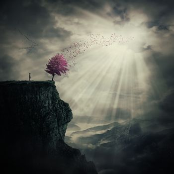 Young man standing on the peak of a cliff watching at a strange, purple tree that cast its leaves in the wind over valley. The tree of life symbol, journey and discover.