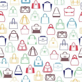 Vector pattern of Fashion Bags, Women and men handbags and travel bag in outline style. Background of women accessories.
