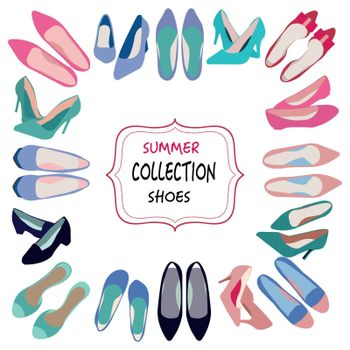 Background of shoes fashion collection. Spring-summer collection of women shoes. illustration for shoes shop.