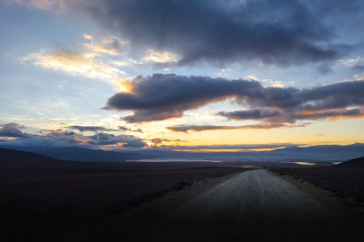 Sunset on altiplano mountains road in sud Lipez reserva, Bolivia