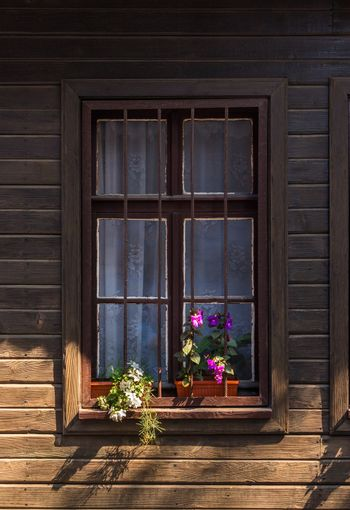 window with grate and flowers