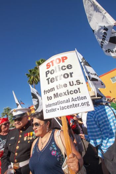 Veterans and family protesting at border